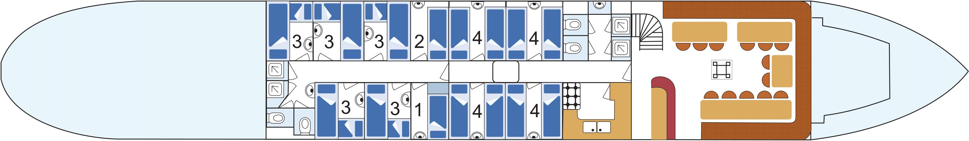 Kabineneinteilung unter Deck